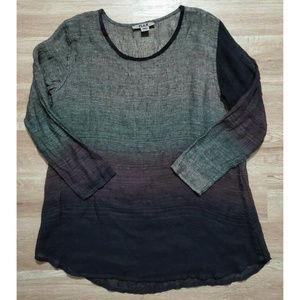 Flax Womens Gray Black Brown Ombre Linen Tunic L